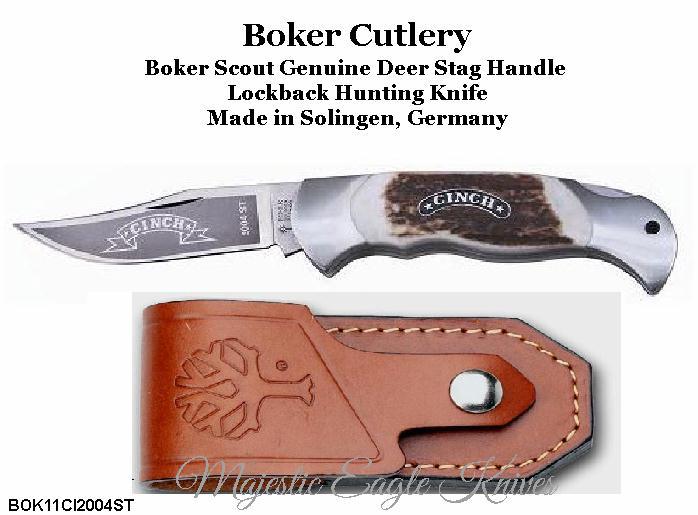 boker tree brand bok11ci2004st scout lock back genuine deer stag